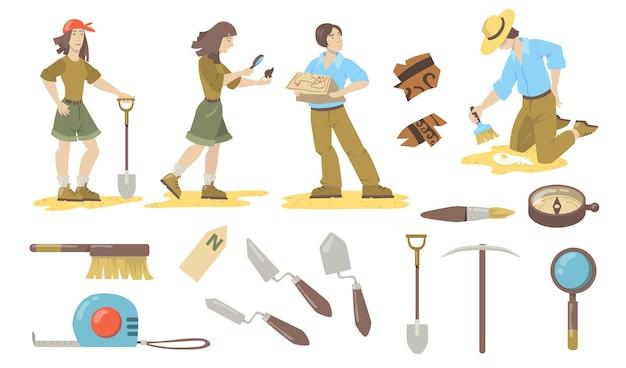 考古学ツールセット。シャベル、こて、ブラシ、コンパスを使用して歴史上の遺物を発見する考古学者および古生物学者。考古学、地質学、発見のベクトルイラスト。 無料ベクター