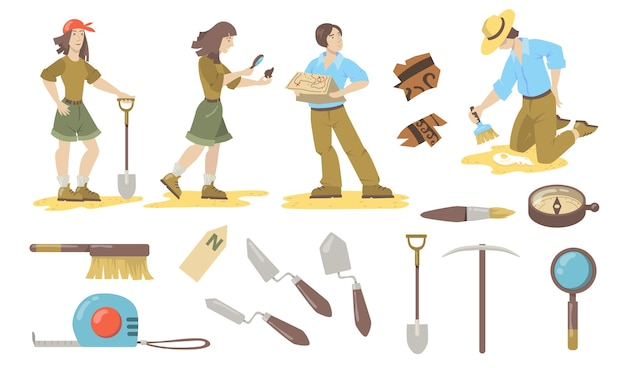 Archeological tools set. archeologist and paleontologist using shovels, trowels, brushes, compass for finding historical artifacts. vector illustrations for archeology, geology, discovery. Free Vector