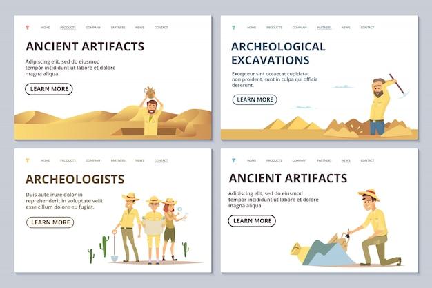 Archeologists landing page templates. cartoon archaeologists explore antiquities illustration Premium Vector