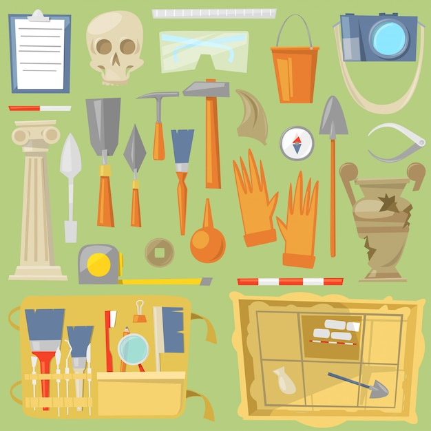 Archeology  archaeological finds and tools or equipment and elements of ancient history finding by archaeologists illustration archaeology set isolated on background Premium Vector