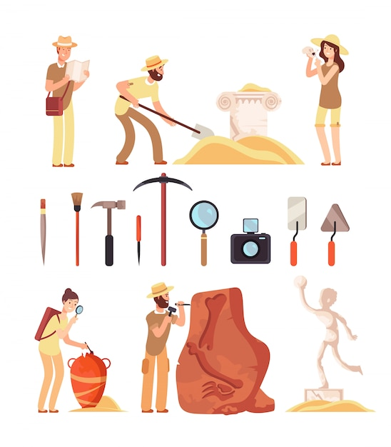 Archeology. archeologist people, paleontology tools and ancient history artifacts. vector cartoon isolated set Premium Vector