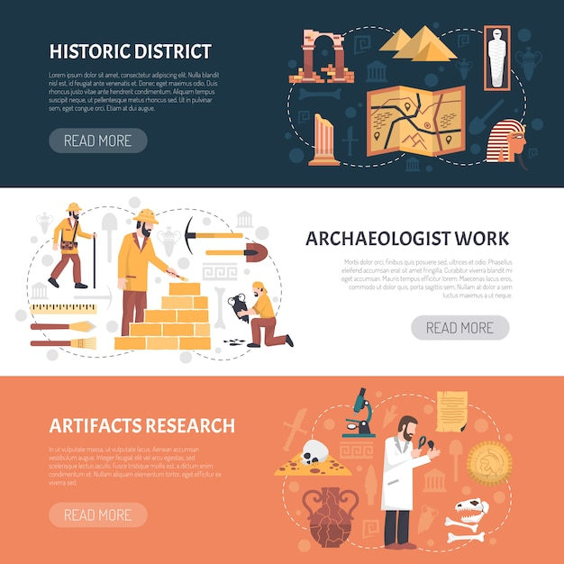 Archeology banners illustration Free Vector