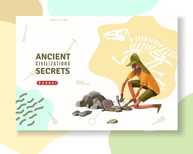 Archeology concept banner with abstract ornaments pictogram silhouettes of digging tools and doodle style human character Free Vector