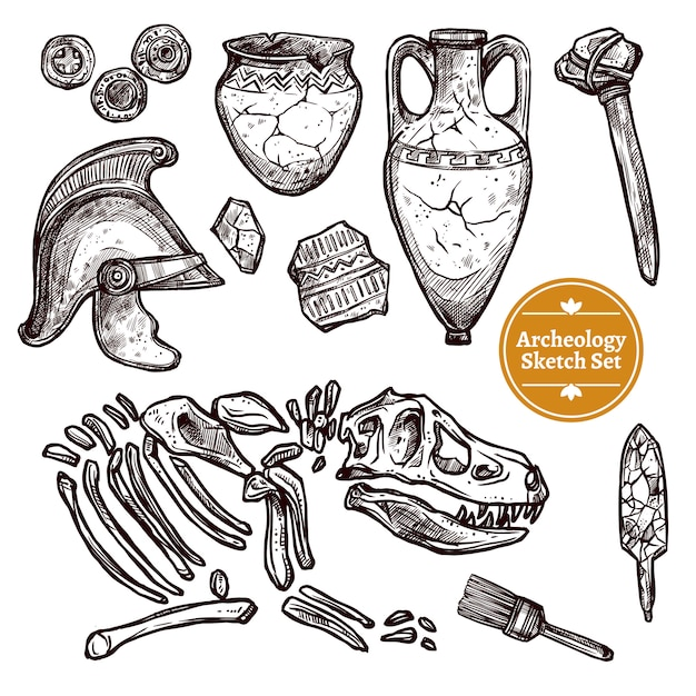 Archeology hand drawn sketch set Free Vector