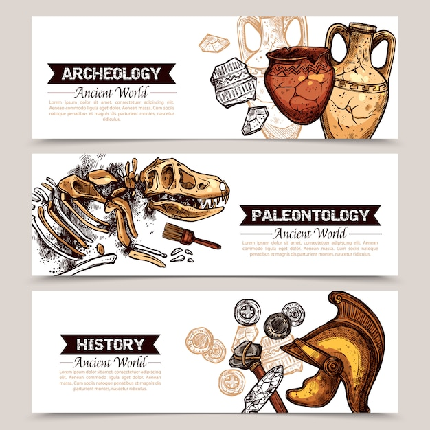 Archeology horizontal sketch colored banners Free Vector