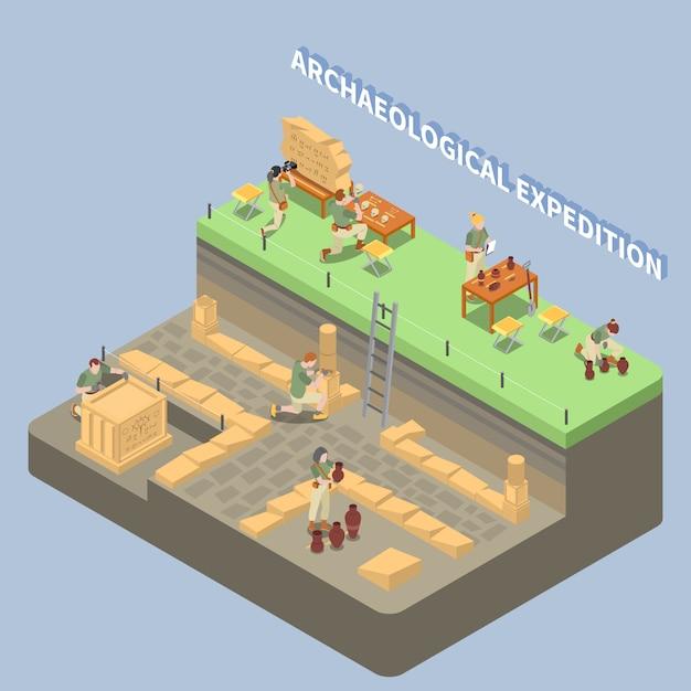 Археологическая изометрическая композиция с древними останками и символами экспедиции Бесплатные векторы