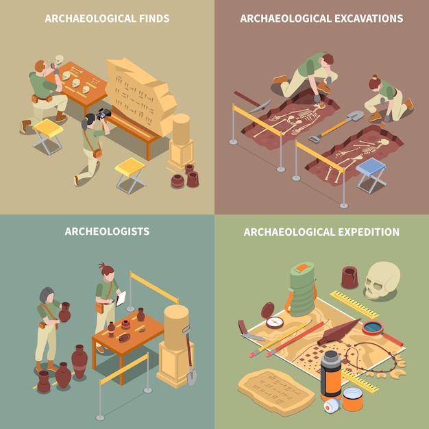Archeology isometric concept icons set with excavations and finds symbols isolated Free Vector