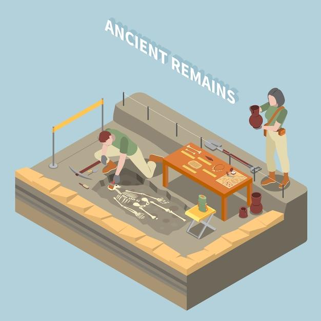 Археология изометрической концепции с древними останками и объектами символами Бесплатные векторы