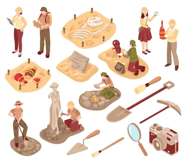 Археология изометрические набор ученых с профессиональным оборудованием во время исследования древних артефактов изолированных векторная иллюстрация Бесплатные векторы
