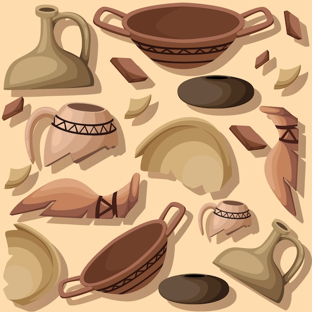 Archeology and paleontology concept archaeological excavation   element. ancient history achaeologists unearth ancient artifacts illustration Premium Vector