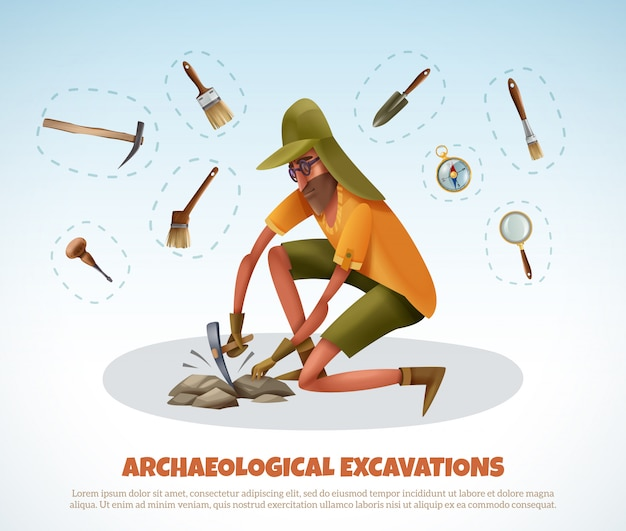 Archeology  with doodle style man digging ground and isolated pieces of excavation equipment with text Free Vector
