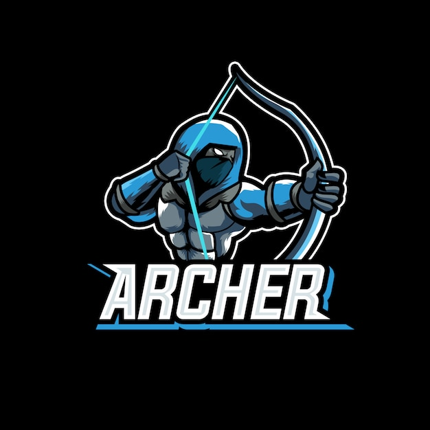 Archer assasin character sports gaming logo mascot Premium Vector