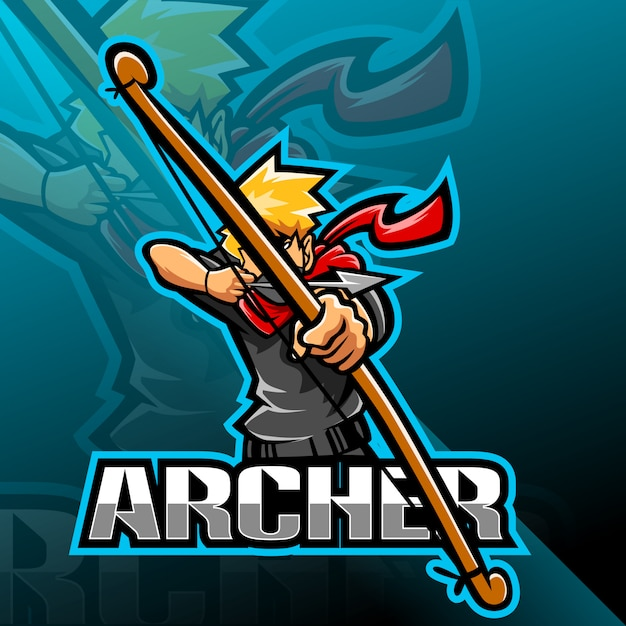 Archer esport талисман дизайн логотипа Premium векторы