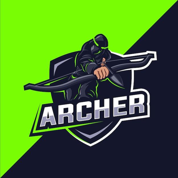 Archer green esport mascot logo design Premium Vector