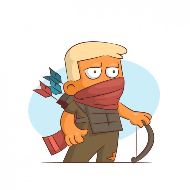 Archer with covered mouth Free Vector