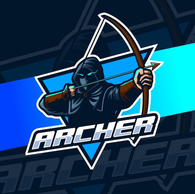 Archer талисман киберспорт логотип Premium векторы