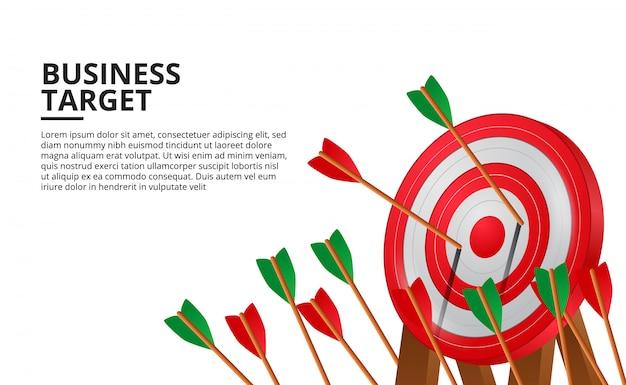 3d赤いターゲットボード上のアーチェリーの矢。ビジネス目標達成 Premiumベクター