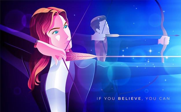 Archery business woman concept illustration Premium Vector