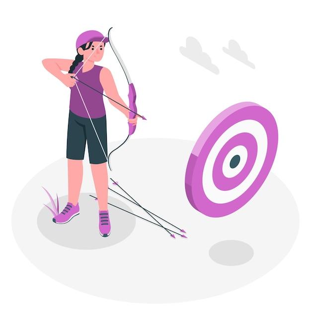 Archery concept illustration Free Vector
