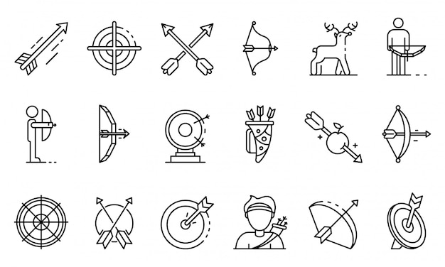 Archery icons set, outline style Premium Vector