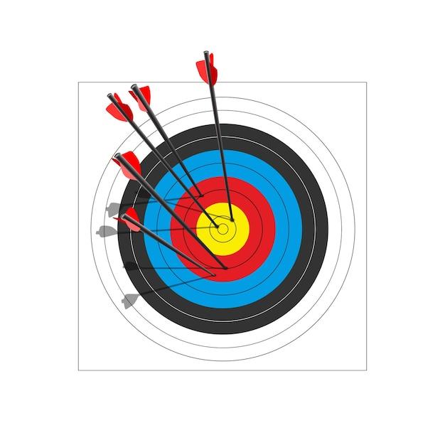 5本の矢でアーチェリーのターゲット。 Premiumベクター