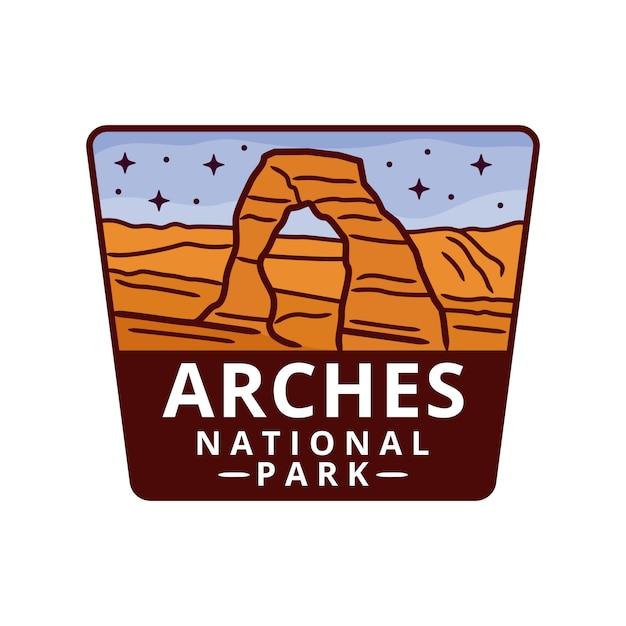 Arches national park sticker Premium Vector