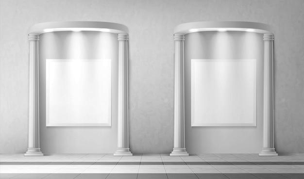 Archi con colonne e insegne vuote nel muro Vettore gratuito