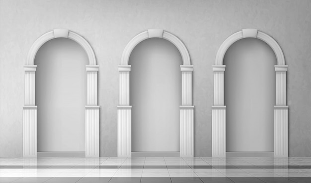 Arches with columns in wall, gates with pillars Free Vector