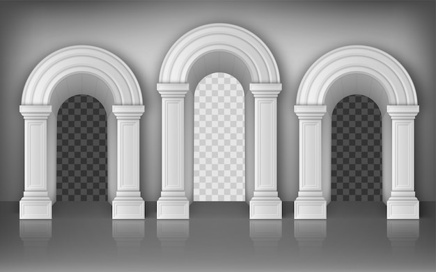 Arches with white columns in wall, interior gates Free Vector