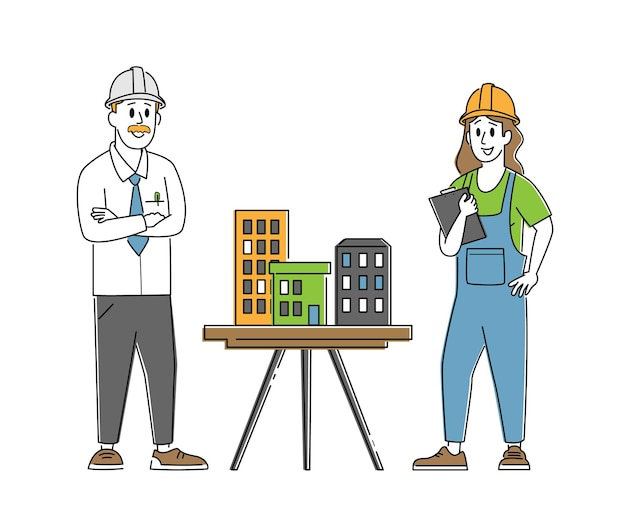 Architect, builder engineer character presenting model of house mock up to foreman. building and engineering construction Premium Vector