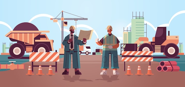 Architect and engineer in uniform discussing project during meeting construction of buildings concept mix race builders working on construction site Premium Vector