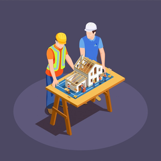 Architect and foreman with house construction project on wooden desk Free Vector