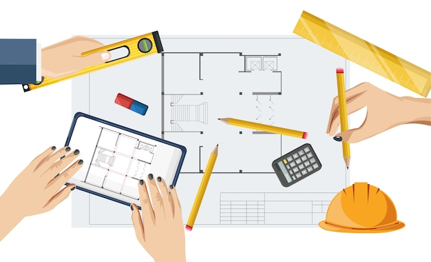 Architect hands drawing a blueprint with rulers, compass and pencil Premium Vector