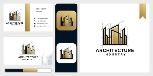 Architect home logo,  of architectural design and industrial construction Premium Vector