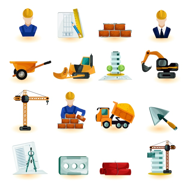 Architect icons set Free Vector