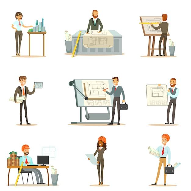 建築家は、建築家がプロジェクトを設計するためのイラストのセットと建物建設のための青写真をセットします。 Premiumベクター