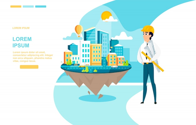 Architect successful work vector landing page Premium Vector