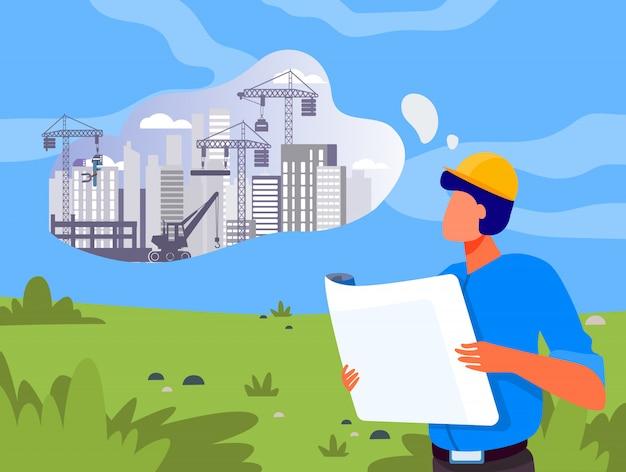 Архитектор с планом строительства на лужайке Бесплатные векторы