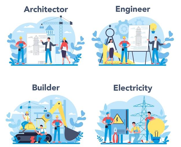 Набор профессий архитектора и строителя. строительные и инженерные рабочие. коллекция профессии, мужчины и женщины в униформе. Premium векторы