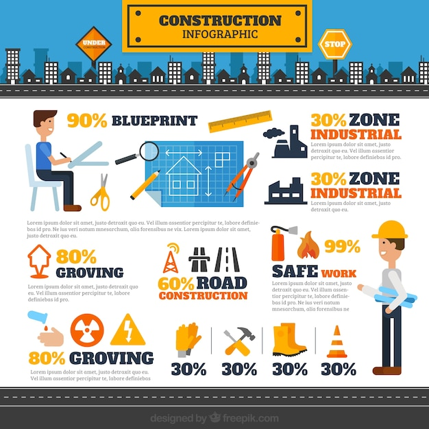 Architects And Construction Elements Infography Vector