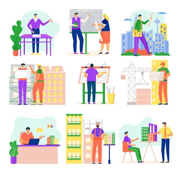 건축 프로젝트 그림에서 작업하는 건축가 및 건설 엔지니어는 흰색에 설정합니다. 건물 공학 직업, 건축 Er 직업 또는 직업 세트. 프리미엄 벡터