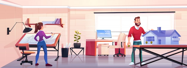 Architects working in office Free Vector