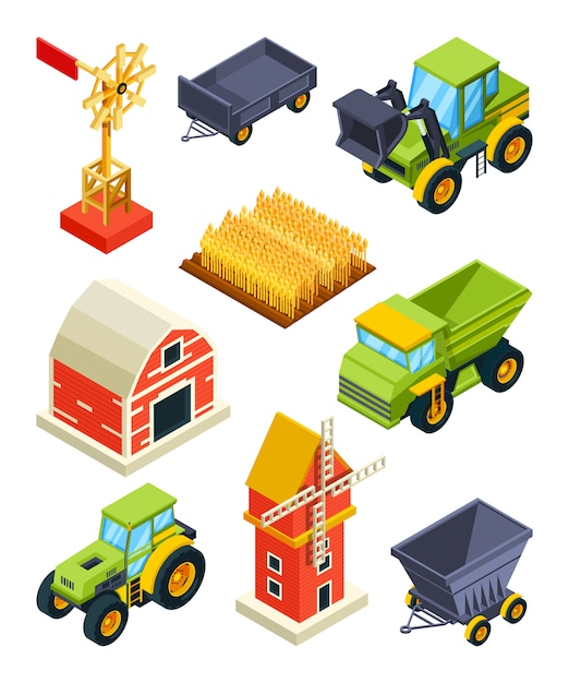 Architectural objects of farm or village Premium Vector