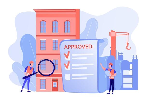 Approvazione progetto architettonico, controllo sicurezza Vettore gratuito