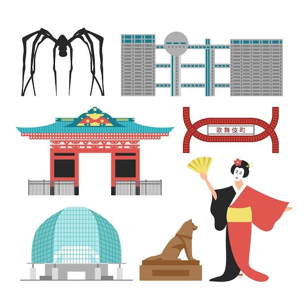 東京の建築物観光スポット 無料ベクター
