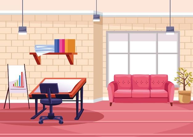 사무실 그림에서 건축 테이블 작업 프리미엄 벡터