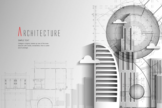 Architecture and blueprint background.paper art style. Premium Vector