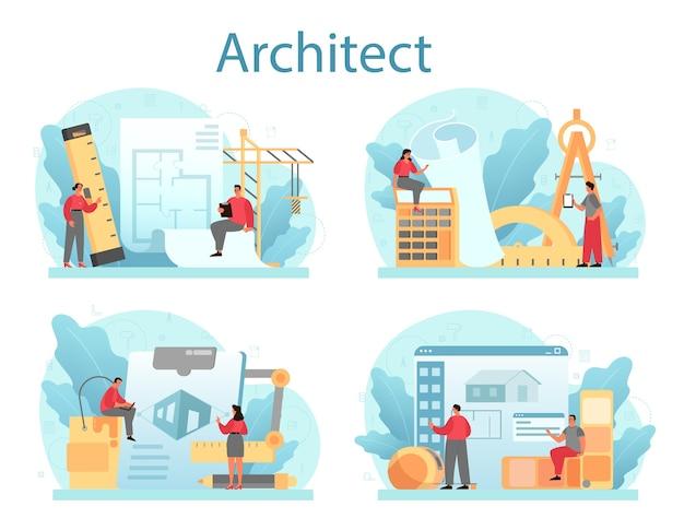 フラットなデザインに設定されたアーキテクチャの概念 Premiumベクター