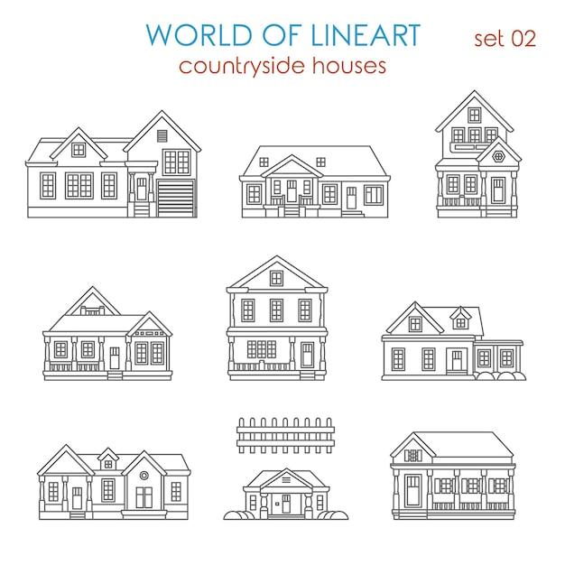 建築田舎の家タウンハウスアル線画セット。ラインアートコレクションの世界。 無料ベクター