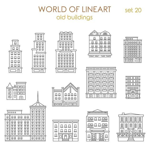 아키텍처 역사적인 오래 된 건물 알 라인 아트 스타일 모음 무료 벡터